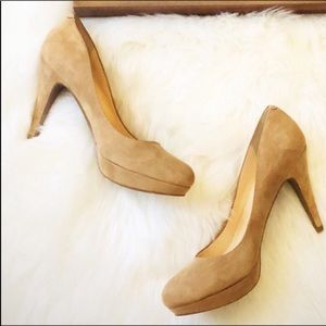 Marc Fisher tan nude suede pumps 8.5